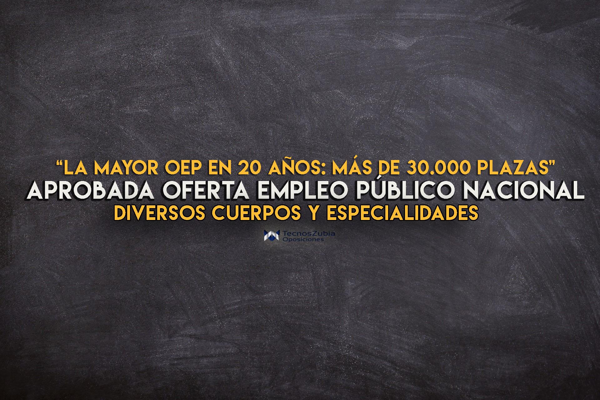 Aprobada la Oferta de Empleo Público Nacion con más de 30000 plazas.